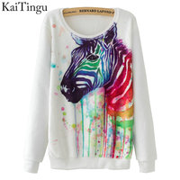 KaiTingu Brand 2016 Fashion Autumn Women Long Sleeve Flannel Tracksuit Hoodie Zebra Watercolor Print Casual Pullover