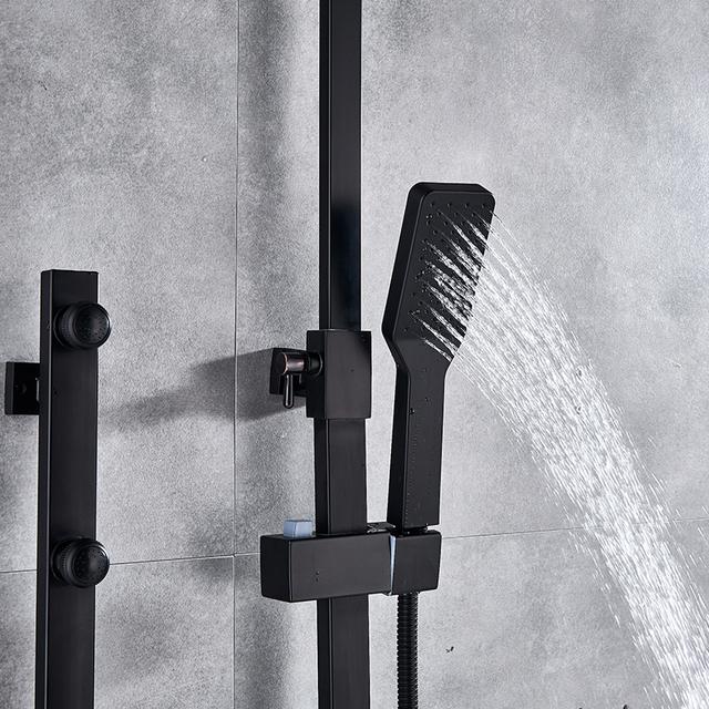 Quyanre Matte Black Chrome Shower Faucets Set Brass 5-way Button Control Mixer Tap SPA Massage Jets Shower Bidet Bath Shower Set
