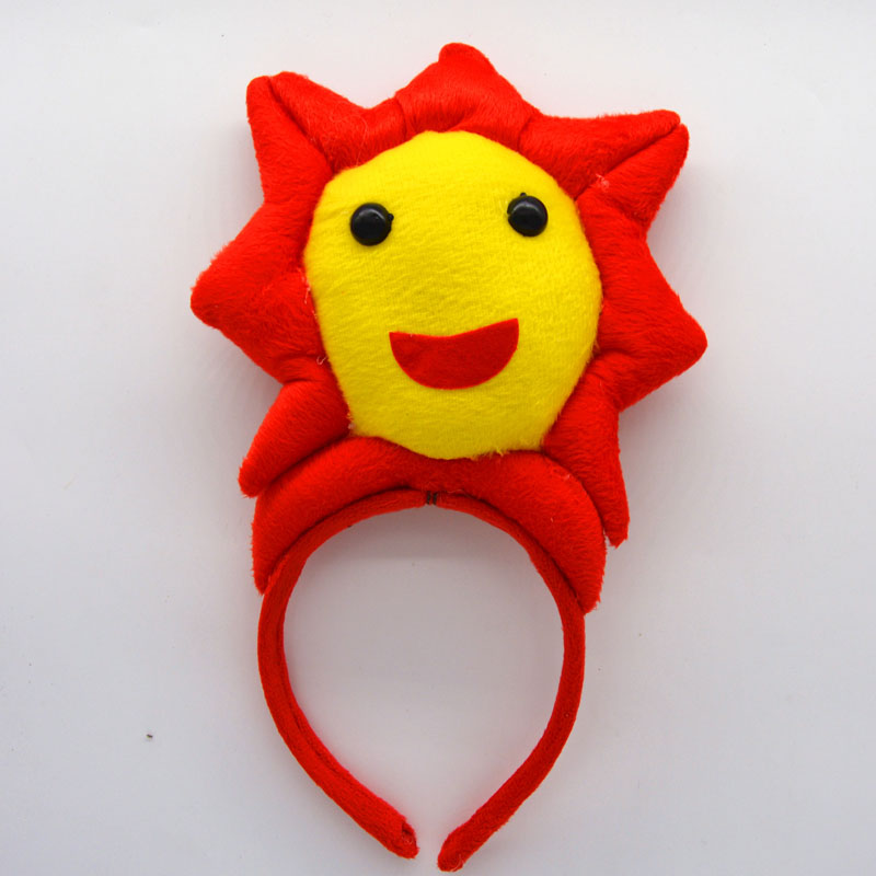 New Headband Smile Sun Head Wear Children Birthday Party Favor Decorations Cosplay Red Yellow Kids Man Woman