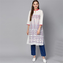 New India Fashion Woman Ethnic Styles Print Set Cotton Dress Three Quarter Sleeve Costume Elegent Lady Long Top
