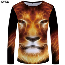 536cefdbc38 KYKU Lion T shirt Men Long sleeve shirt Flame Funny T shirts 3D Hip hop  Rock Japan 3d T-shirt Streetwear Mens Clothing Fashion