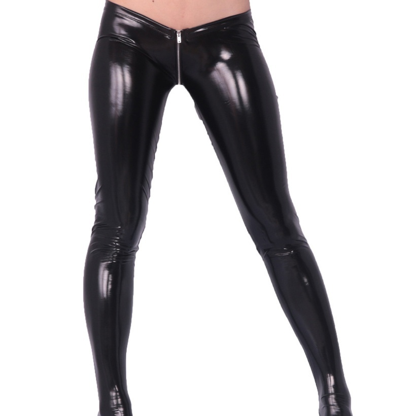 Sexy Latex PVC Glossy Tight Pants Zipper Open Crotch Low Waist Skinny Tights Women Stage Clothing Club Costumes