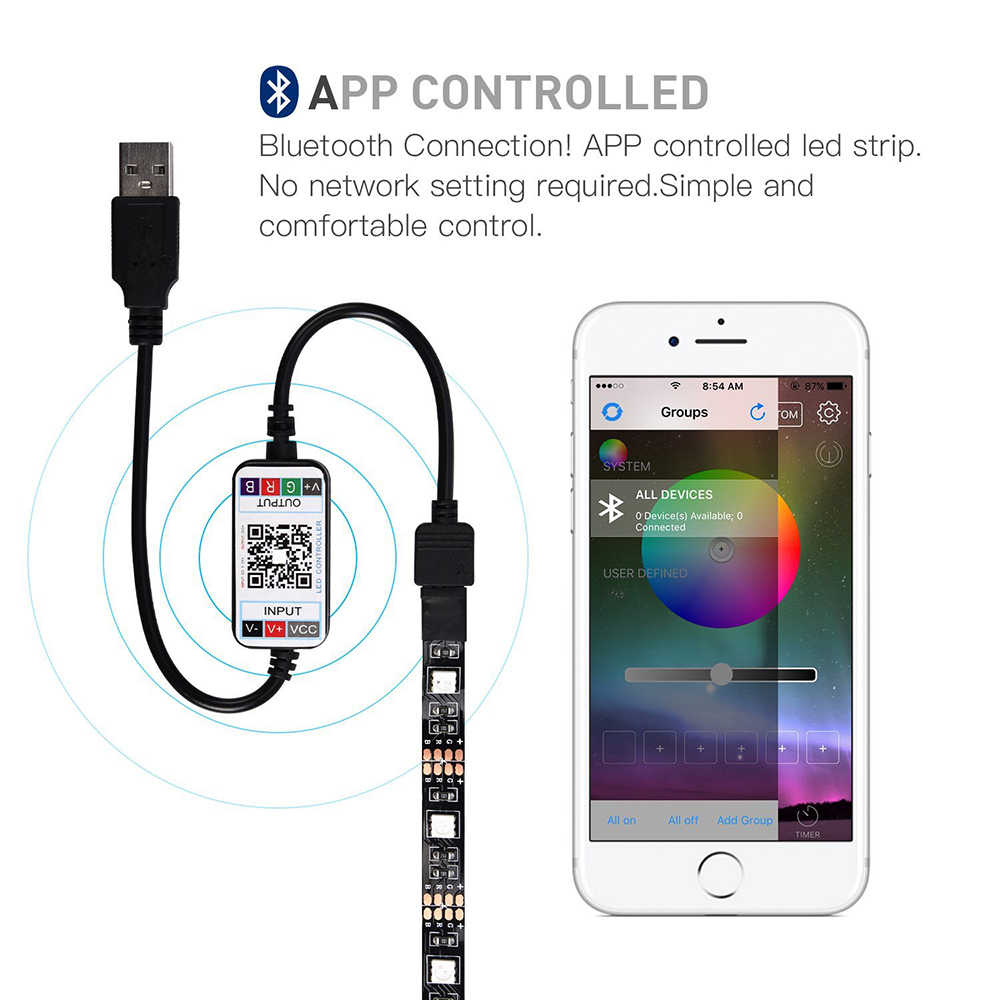 DC5V USB светодиодный полосы 5050 RGB 50 см 1 м 2 м 3 м Bluetooth APP управление гибкий свет фоновый свет телевизора Светодиодная лента RGB