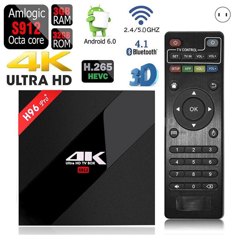 Android 7 TV Box 3GB/32GB H96 Pro+ Amlogic S912 Octa Core Smart 4K Wifi 2.4GHz/5GHz HD Media Player Set-top BOX @JH