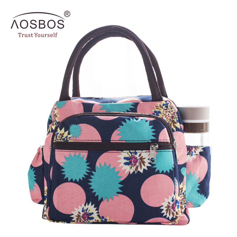 Aosbos Waterproof Picnic Lunch Bag Portable Oxford Canvas Tote Bags Food Storage Bags for Women Lunch Box Printing Thermal Bag купить недорого в Москве