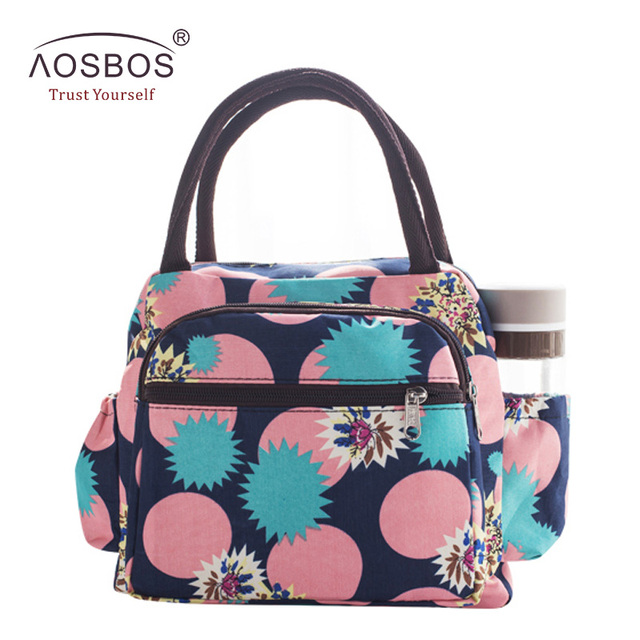 Aosbos Waterproof Picnic Lunch Bag Portable Oxford Canvas Tote Bags Food Storage Bags for Women Lunch Box Printing Thermal Bag