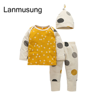 3pieces Set Boys Girls Spring Autumn Season Long Sleeve Blouse Printed Pants Hat Infant Newborn Set