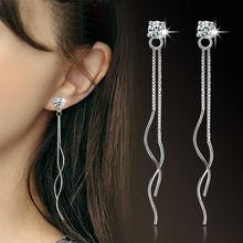Женские серьги гвоздики с кисточками и серебряным покрытием