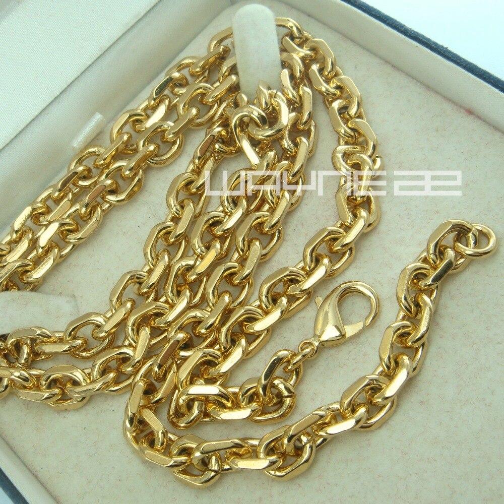 Gold color Men 6mm width 50 60 70 80cm Length Chain Necklace N248