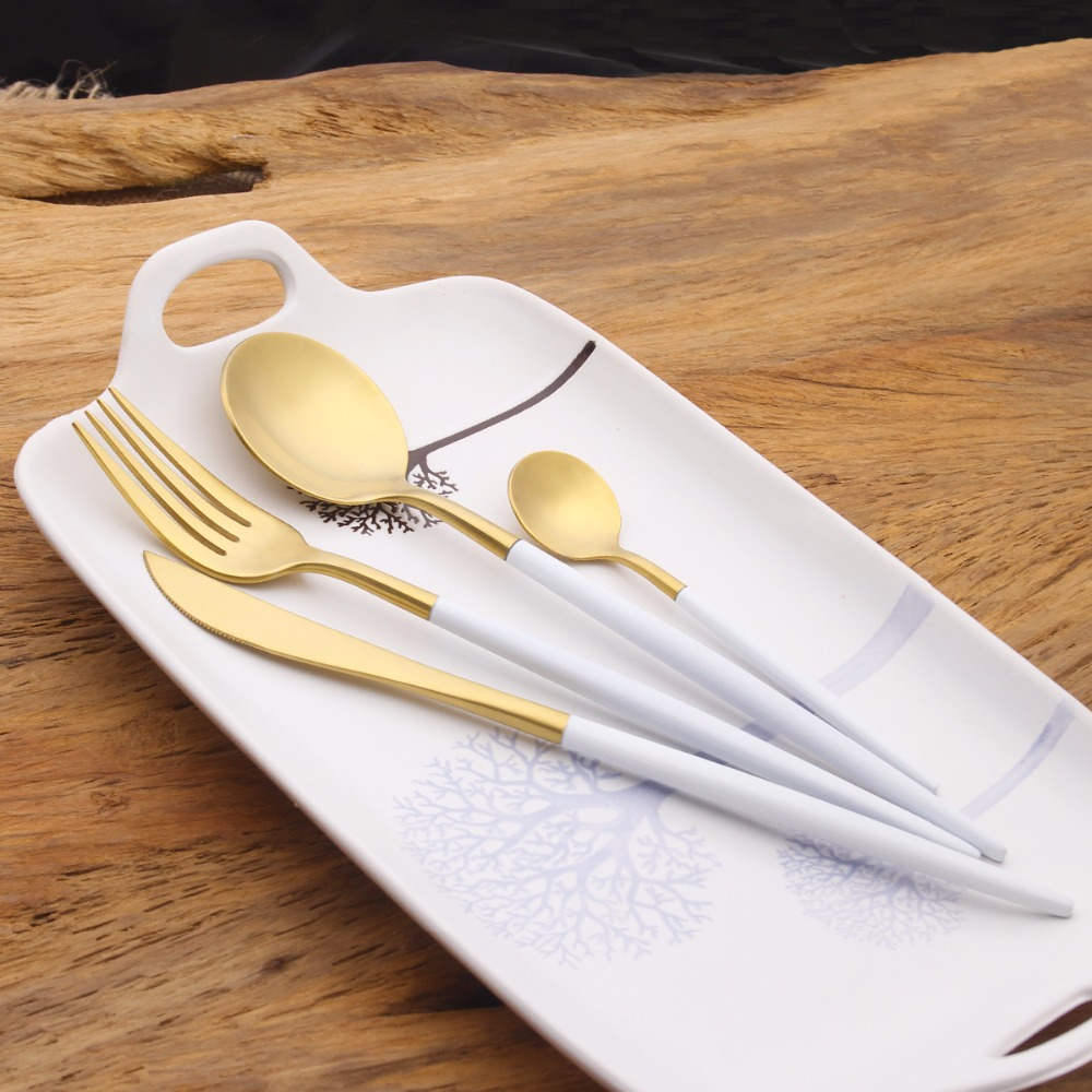 4Pcs Set Golden Flatware Set Luxury Cutlery Set 18 10 Stainless Steel Dinner font b Knife