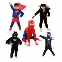 Conjuntos de Roupa dos miúdos do Menino Spiderman Batman Superman Zorro Crianças Cosplay Trajes de Halloween Presente Para A Festa de Crianças Conjunto de Roupas