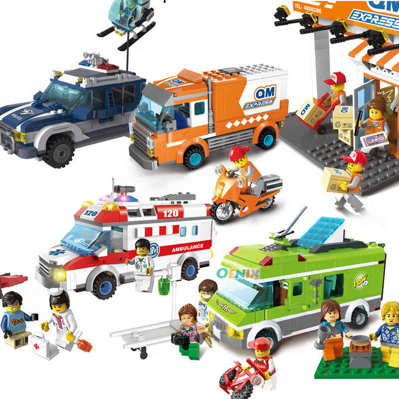 City Wrecker Police Sanitation Ice Cream Car Truck Building Blocks Sets Bricks Kids Toys Marvel City Friends Christmas Gifts