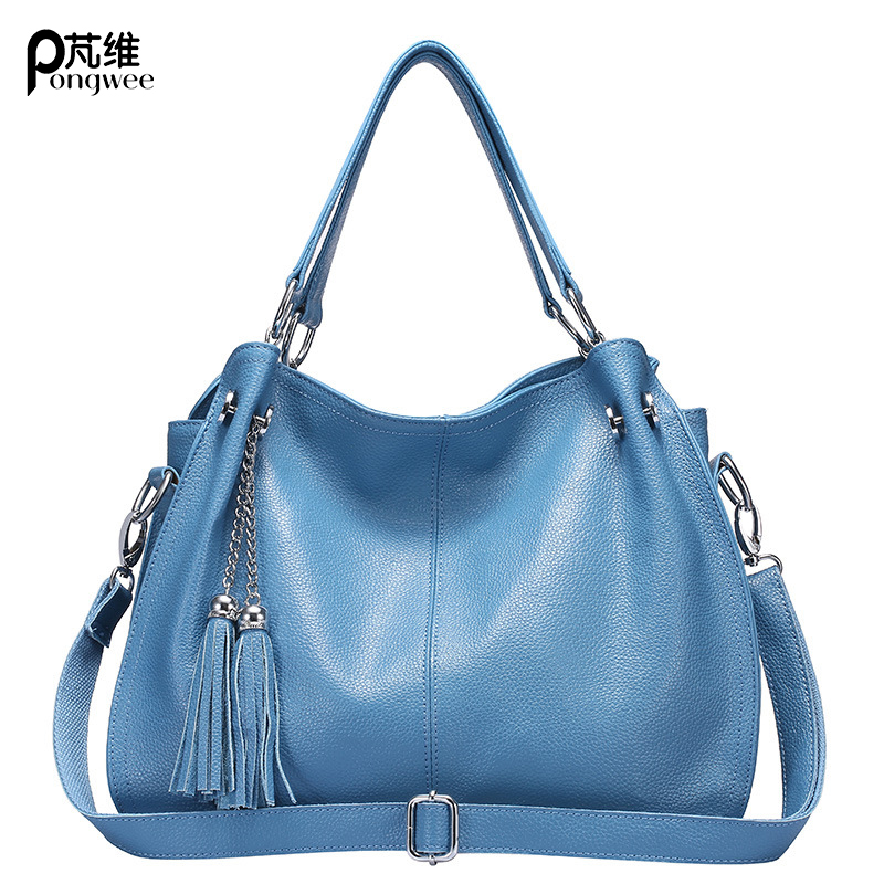 PONGWEE 2018 Women Genuine Leather Bag Female Hobos Shoulder Bags High Quality Leather Tote Bag Brand Fashion Tassel Handbag купить недорого в Москве