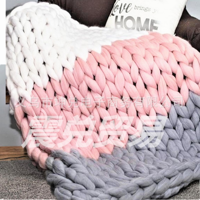 Colorful WOOLEN YARN blanket 100*120cm Hand Chunky Knitted Braid Sofa Blanket Thick Wool Bulky Knitting Throw dropshipping цена