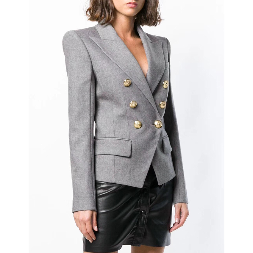 HIGH QUALITY New Fashion 2019 Designer Blazer Women s Double Breasted Metal Lion Buttons Cotton Blend