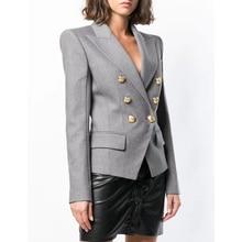 HIGH QUALITY New Fashion 2019 Designer Blazer Women's Double Breasted Metal Lion Buttons Cotton-Blend Blazer Jacket