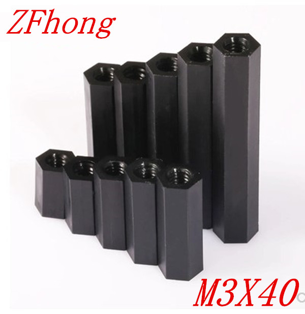 100pcs/lot M3*40 M3 X 40 Black  Nylon Plastic Standoff  Spacer Female to Female double pass thread 2017 axk 100pcs lot male to female thread m3 6 6 m3 x 6 black nylon standoff spacer