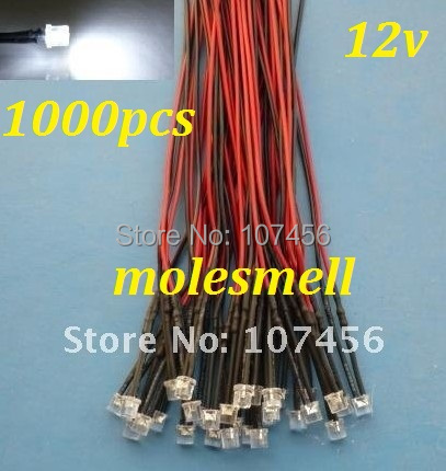 Free shipping 1000pcs  5mm Flat Top  White LED Lamp Light Set Pre-Wired 5mm 12V DC Wired 5mm 12v big/wide angle white led