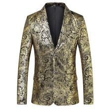 Business Leisure Gold Mens Suits Tuxedos Wedding for Men Plus size Blazer Jacket Stage Fashion Casaco masculino