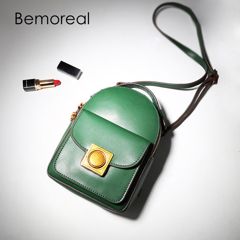 Bemoreal backpack female Genuine Leather small fashion zipper school bag oil wax woman backpacks for adolescent girls women bag