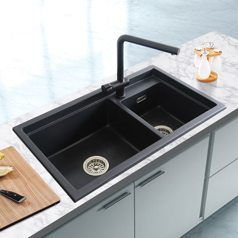 Quartz Stone Kitchen Sink Granite Double Bowl Sink Kitchen Accessories Vegetables Basin Sinks 780x460x200mm Free Shipping