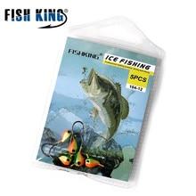FISH KING Winter Ice Fishing Hook Lure Mini Metal Bait Fish 5Pcs 1.0g-5.0g 16mm-29mm Lead Head Hook Bait Jigging Fishing Tackle