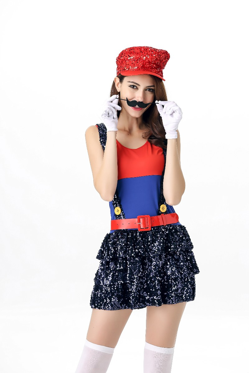 Halloween Ladies Super Mario Costume Luigi Brother Plumber Fancy Dress