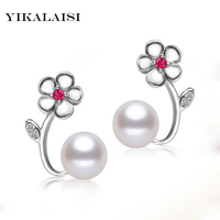 YIKALAISI brand 2017 fashion natural pearl stud earrings for women 925 sterling-silver-jewelry flower 8-9mm high quality pearl