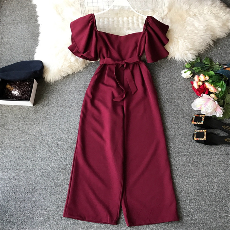 Fashion Solid Slim New Off Shoulder Jumpsuit Casual Sexy Women Bandage Playsuit Summer Long Full Length Overalls Vintage Romper 1