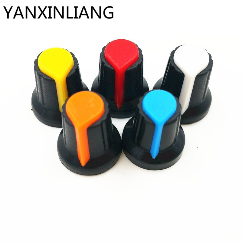20pcs Wh148 Potentiometer Knob Cap Yellow Orange Blue White Red 15x17mm Ag2 Knob Sale Price Active Components