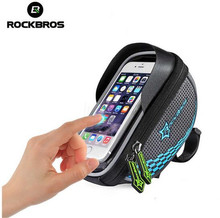 цена на ROCKBROS MTB Road Bike Bag Touch Screen Cycling Front Tube Frame Handlebar Bag Baskets Bicycle Bags Panniers For 5.5' Phone
