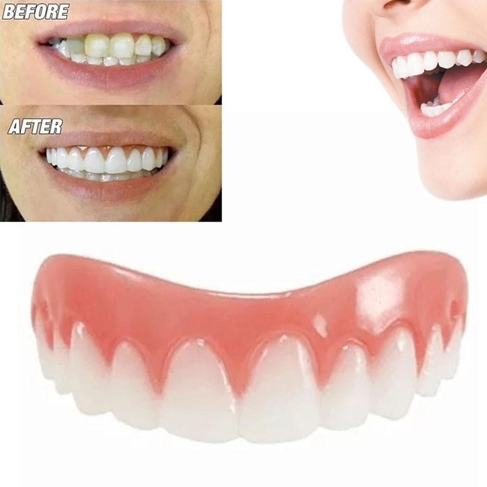1PC Dental Perfect Smile False Teeth Comfort Fit denture teeth Top Silica Gel Upper Row teeth overhead teeth whitening Oral Care