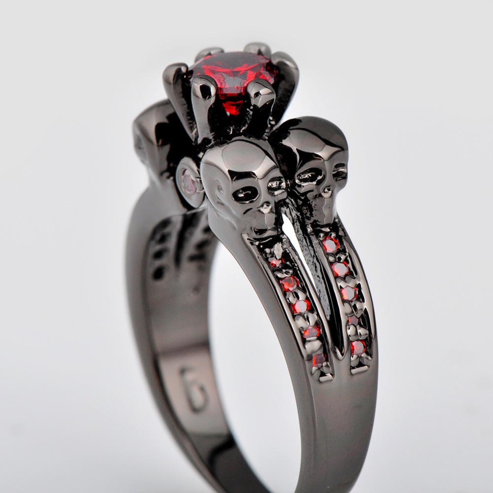 promise jewelry rings women best amazon stone black dp s size com lab shaped bamos womens gold friend heart red plated