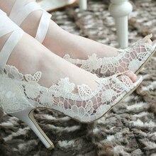Fashion White Lady Peep Toe Shoes for Wedding Graduation Party Prom Shoes Elegant high heel Lace Flower bridal wedding shoes