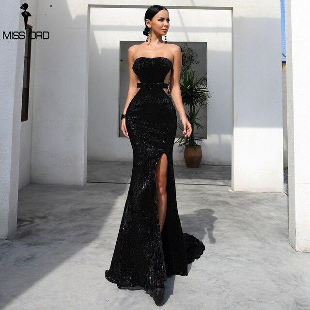 b4eb9c30bb9e7 Missord 2019 Sexy sujetador hombro lentejuela Vestido Mujer sin respaldo de  Split Maxi elegante fiesta reflectante vestido Vestdios FT18391