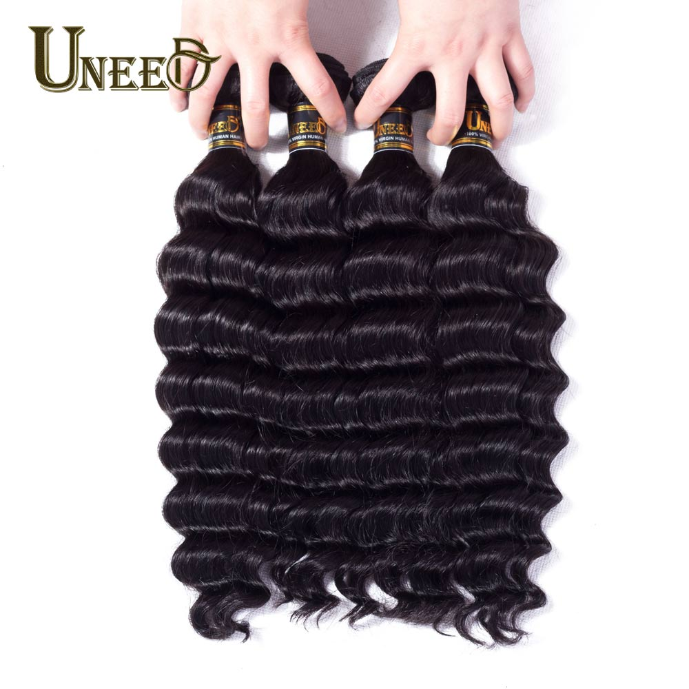Uneed Hair 4 Bundles/Lot Indian Loose Deep Wave 100% Human Hair Weave Bundles Natural Black Color Remy Hair Extensions 8-28inch