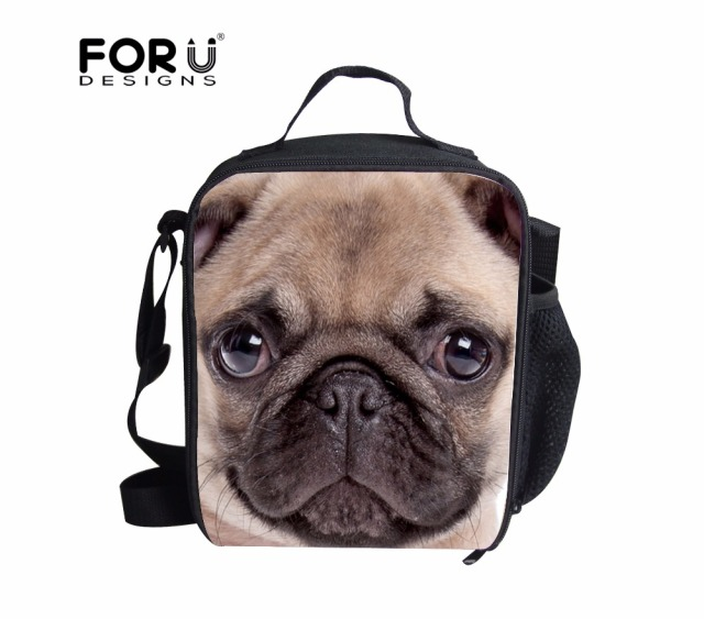 Portable Thermal Insulated Tote Pouch Cute Pug Dog Cooler Lunch Box Storage Picnic Bag 3d Animals Printed Lunch Box lunch bag
