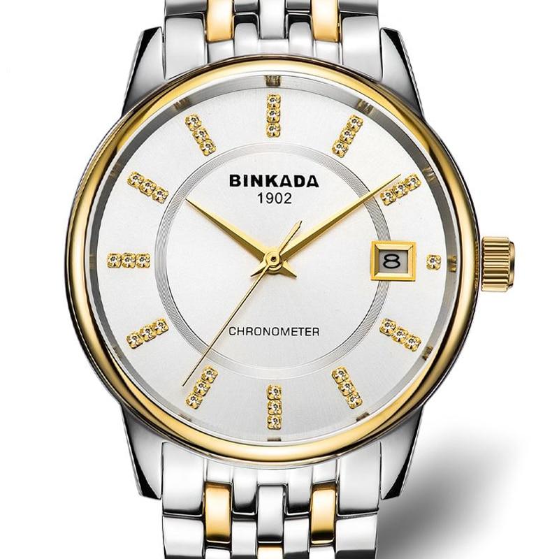 Men automatic mechanical watches calendar waterproof steel business - Men's Watches