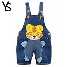 9M-2T Baby Boys Girls Jeans Overalls Shorts Infant Toddlers Kids Denim Rompers Cute Tiger Jumpsuit  For Summer Clothes