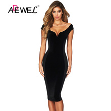 цена ADEWEL Sexy Off Shoulder Bodycon Party Dress Women Elegant Sleeveless  V-neck Club Dresses Female Hourglass Figure Vestidos
