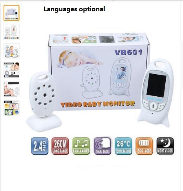 new Infant 2.4 GHz Wireles Baby Monitor Radio Babysitter Digital Video Baby Monitor Audio Night Vision Music Temperature Display
