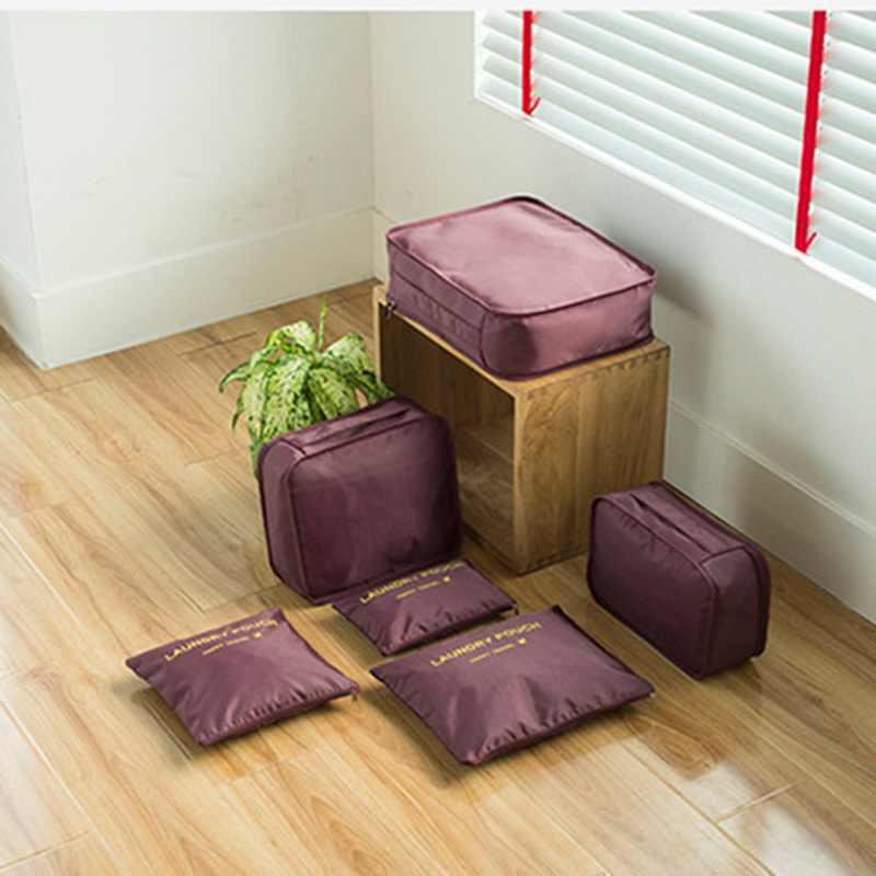 Bolso de viaje para la ropa con 6 unids/set, organizador de equipaje, accesorios de viaje funcionales, cubos de embalaje de malla de alta capacidad # nuevo
