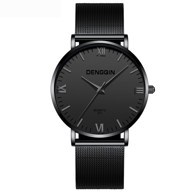 Dengqin Fashion Mens Watches Top Brand Luxury Quartz Watch Men Casual Slim Mesh Steel Waterproof Sport Watch Relogio Masculino by Dengqin