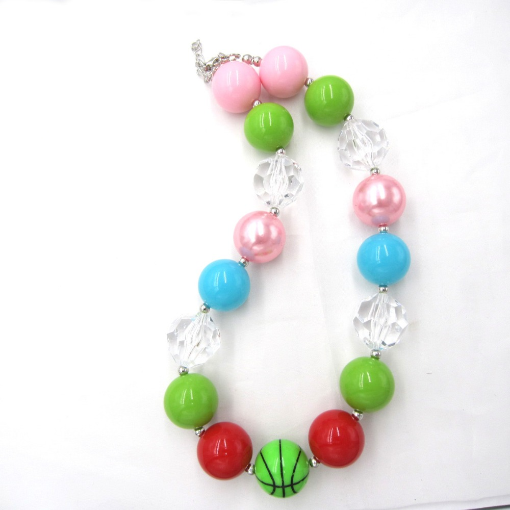 1pc Lot Fashion Saint Patrick's Day Gift For Baby Girls Chunky Necklace Kids Olive Green Color Beads Bubblegum Necklace Jewelry Superior (In) Quality