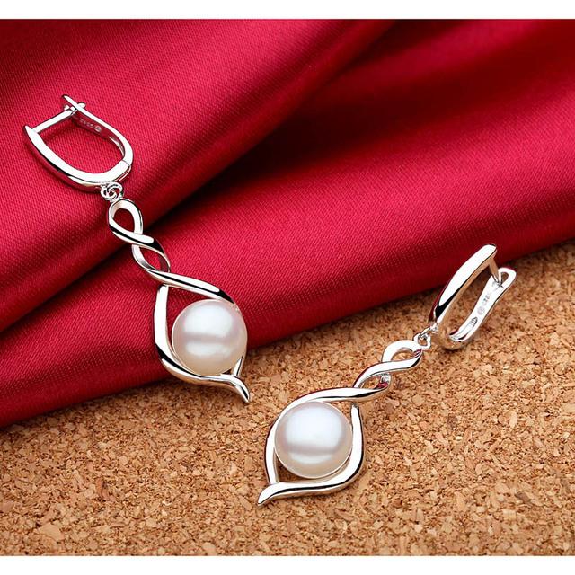 Natural Freshwater Pearl 925 Sterling Silver Dangling Earrings