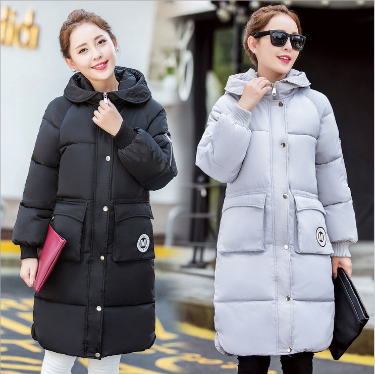 2017 autumn and winter new Korean Women long sections coat solid color hooded women padded down jacket fashion wild Preferred цены онлайн