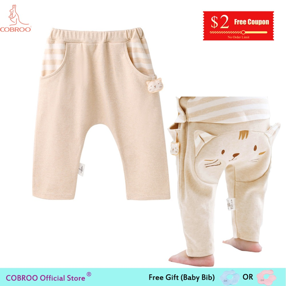 COBROO Baby Pants Unisex Baby Clothes Cute Kitty Cat Trousers Full Length Baby Cotton Pants for Girls 0-3T NY520020