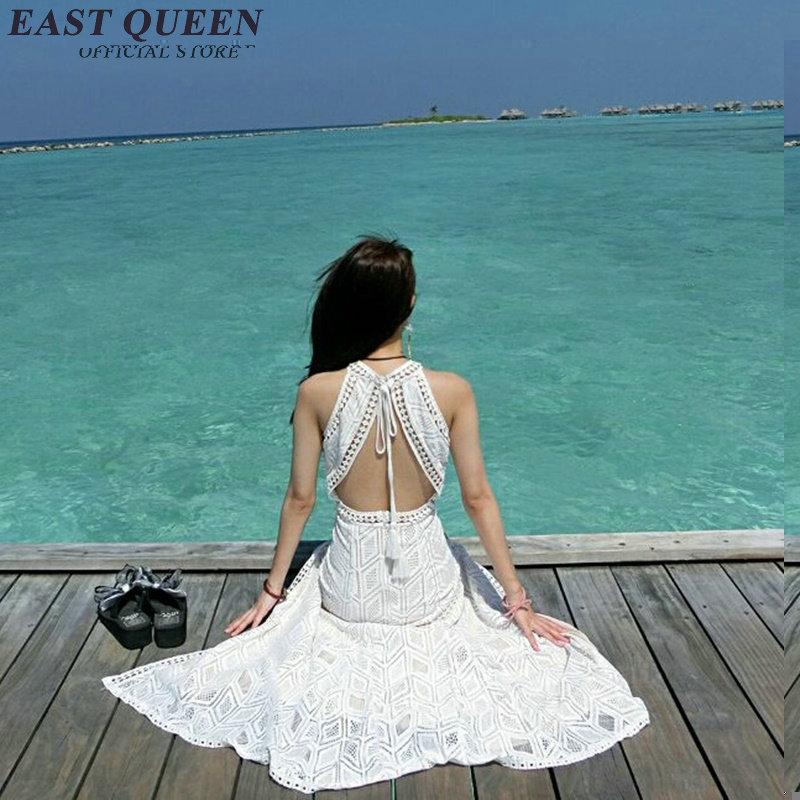 Summer Beach Robes Longues Pour Femmes Boho Blanc dentelle blanc sans manches boho Placement Impression de Split Side Maxi Robe KK202