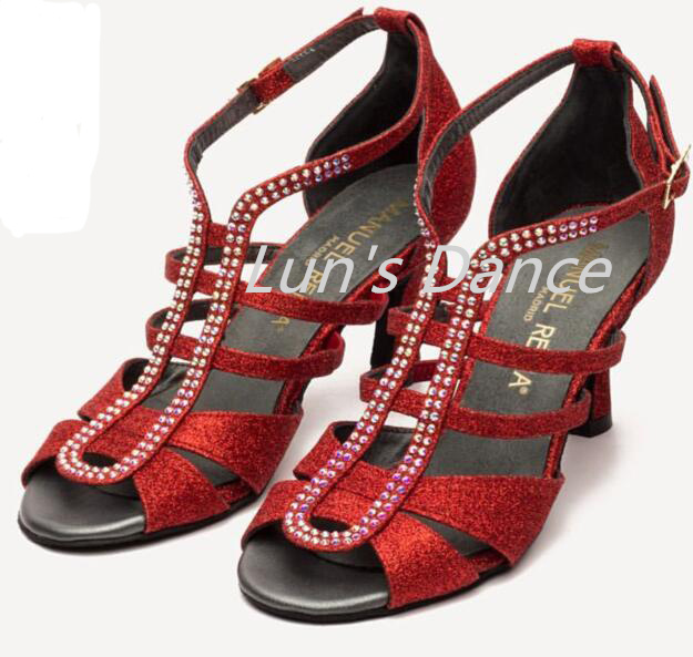 Red Glitter Rhinestone Newest Salsa Latin Ballroom Salsa Tango Bachata Mambo Dance Shoes Ballroom Dancing Shoes DS421