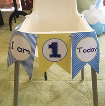1 Set Cute Boy Girl First Birthday Cardboard blue pink High Chair Flag Banner Baby One Year Old Birthday Hanging Decoration(China)